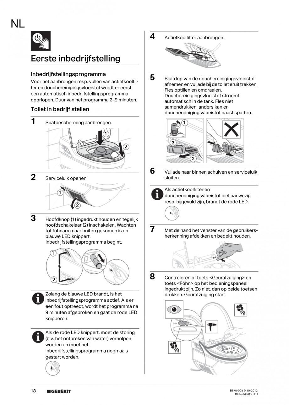 Pagina 18 - Vas WC cu jet de apa reglabil individual 8000plus GEBERIT AquaClean Instructiuni montaj,...