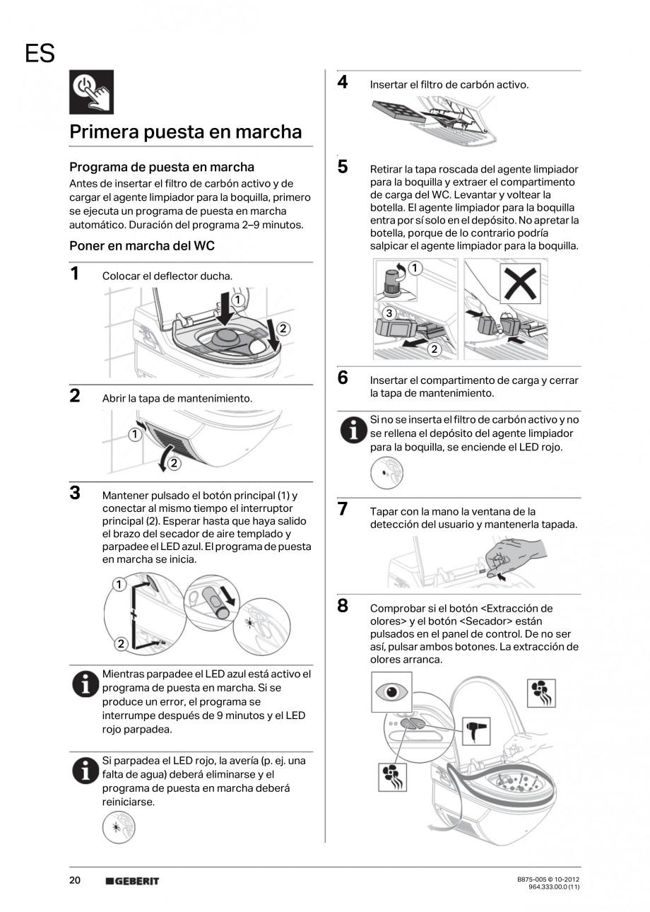 Pagina 20 - Vas WC cu jet de apa reglabil individual 8000plus GEBERIT AquaClean Instructiuni montaj,...