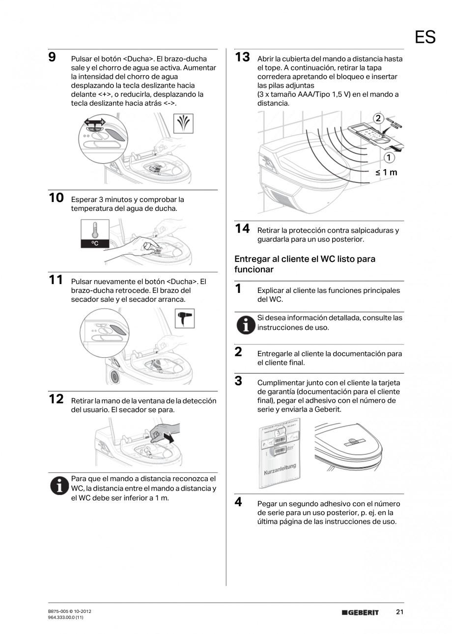 Pagina 21 - Vas WC cu jet de apa reglabil individual 8000plus GEBERIT AquaClean Instructiuni montaj,...