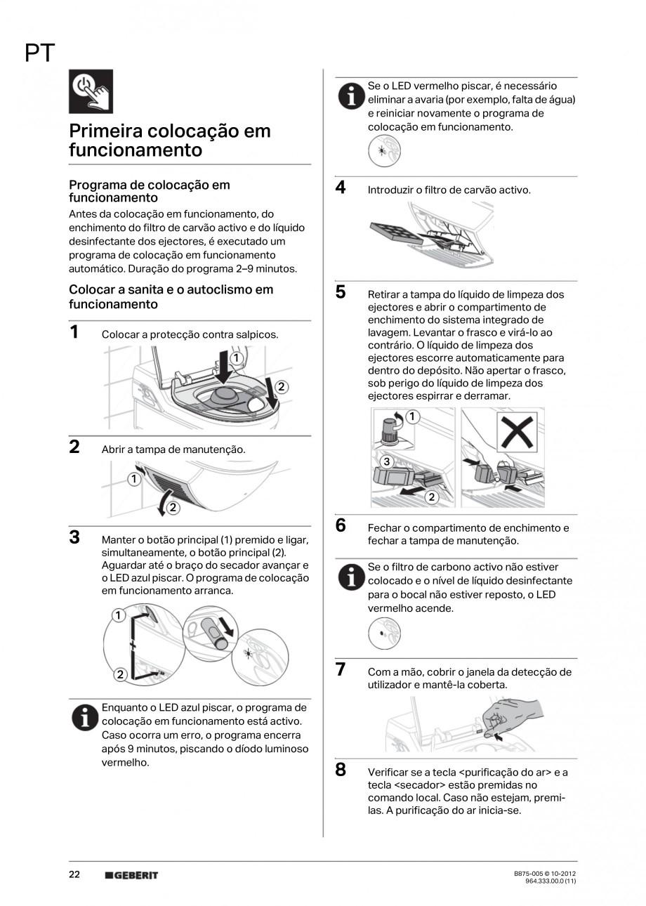 Pagina 22 - Vas WC cu jet de apa reglabil individual 8000plus GEBERIT AquaClean Instructiuni montaj,...