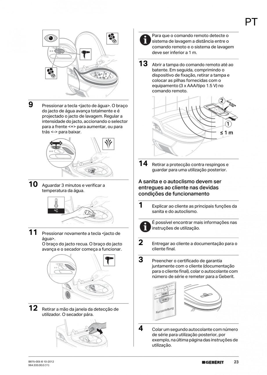 Pagina 23 - Vas WC cu jet de apa reglabil individual 8000plus GEBERIT AquaClean Instructiuni montaj,...