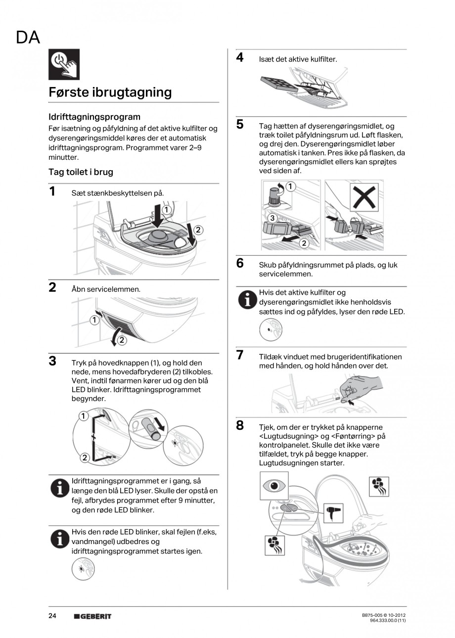Pagina 24 - Vas WC cu jet de apa reglabil individual 8000plus GEBERIT AquaClean Instructiuni montaj,...