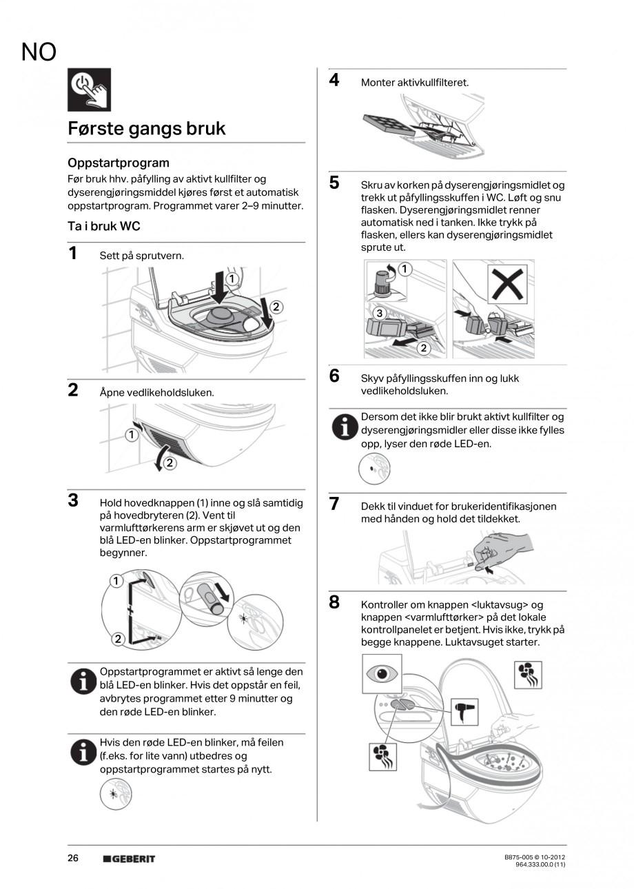Pagina 26 - Vas WC cu jet de apa reglabil individual 8000plus GEBERIT AquaClean Instructiuni montaj,...