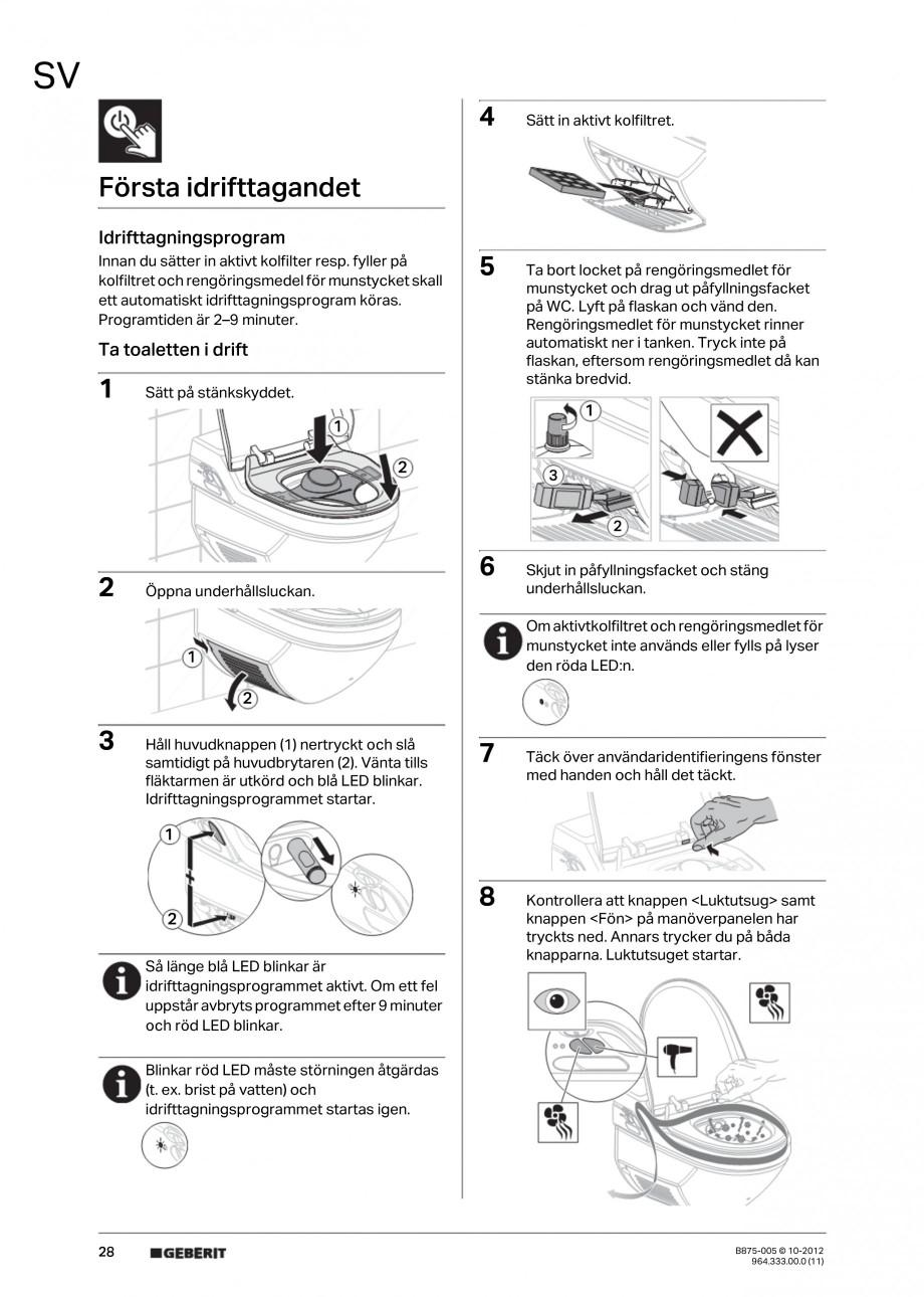 Pagina 28 - Vas WC cu jet de apa reglabil individual 8000plus GEBERIT AquaClean Instructiuni montaj,...