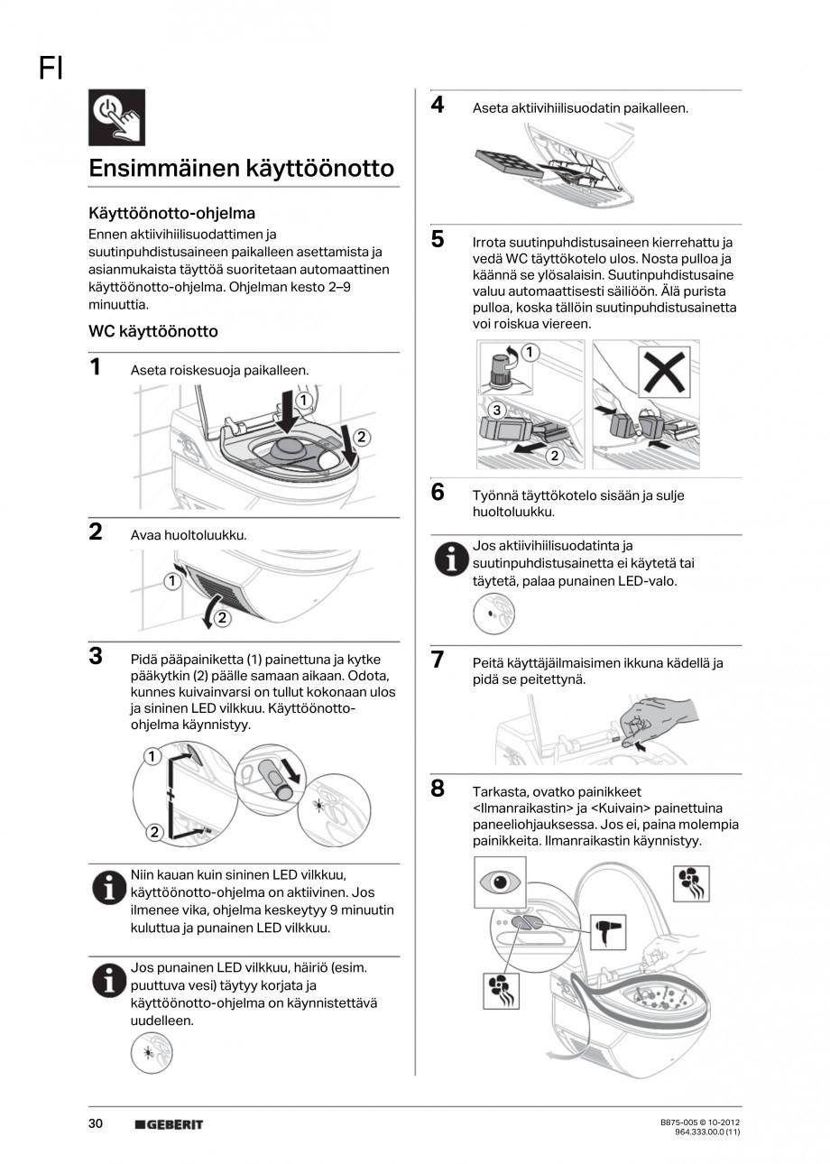 Pagina 30 - Vas WC cu jet de apa reglabil individual 8000plus GEBERIT AquaClean Instructiuni montaj,...