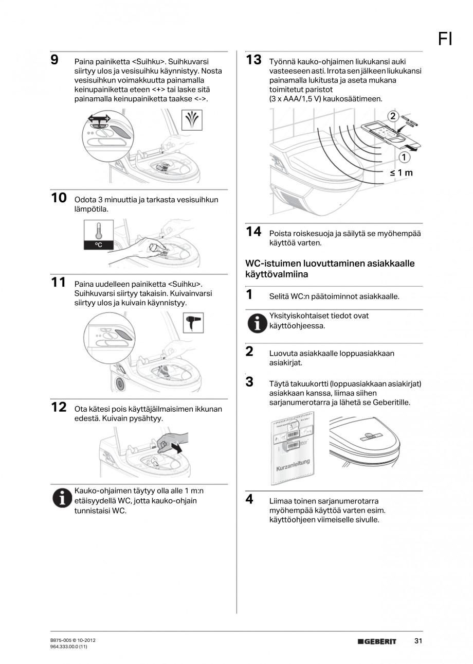 Pagina 31 - Vas WC cu jet de apa reglabil individual 8000plus GEBERIT AquaClean Instructiuni montaj,...