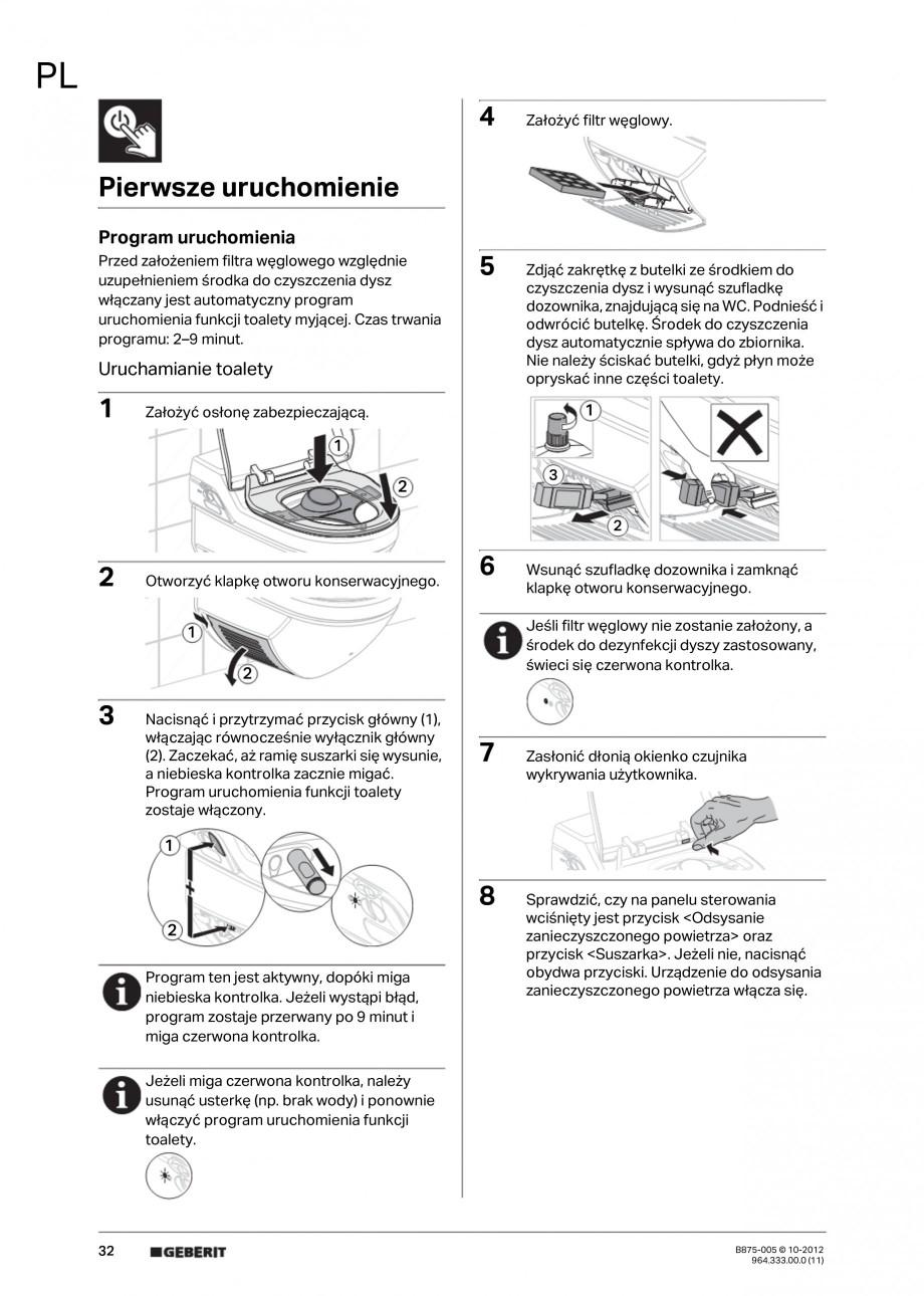Pagina 32 - Vas WC cu jet de apa reglabil individual 8000plus GEBERIT AquaClean Instructiuni montaj,...