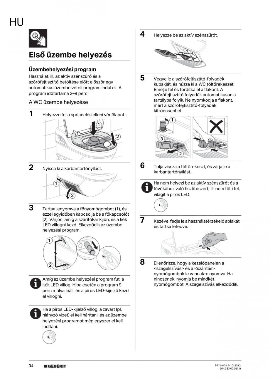 Pagina 34 - Vas WC cu jet de apa reglabil individual 8000plus GEBERIT AquaClean Instructiuni montaj,...