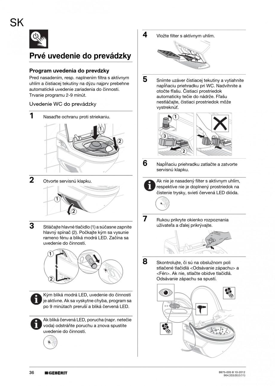 Pagina 36 - Vas WC cu jet de apa reglabil individual 8000plus GEBERIT AquaClean Instructiuni montaj,...