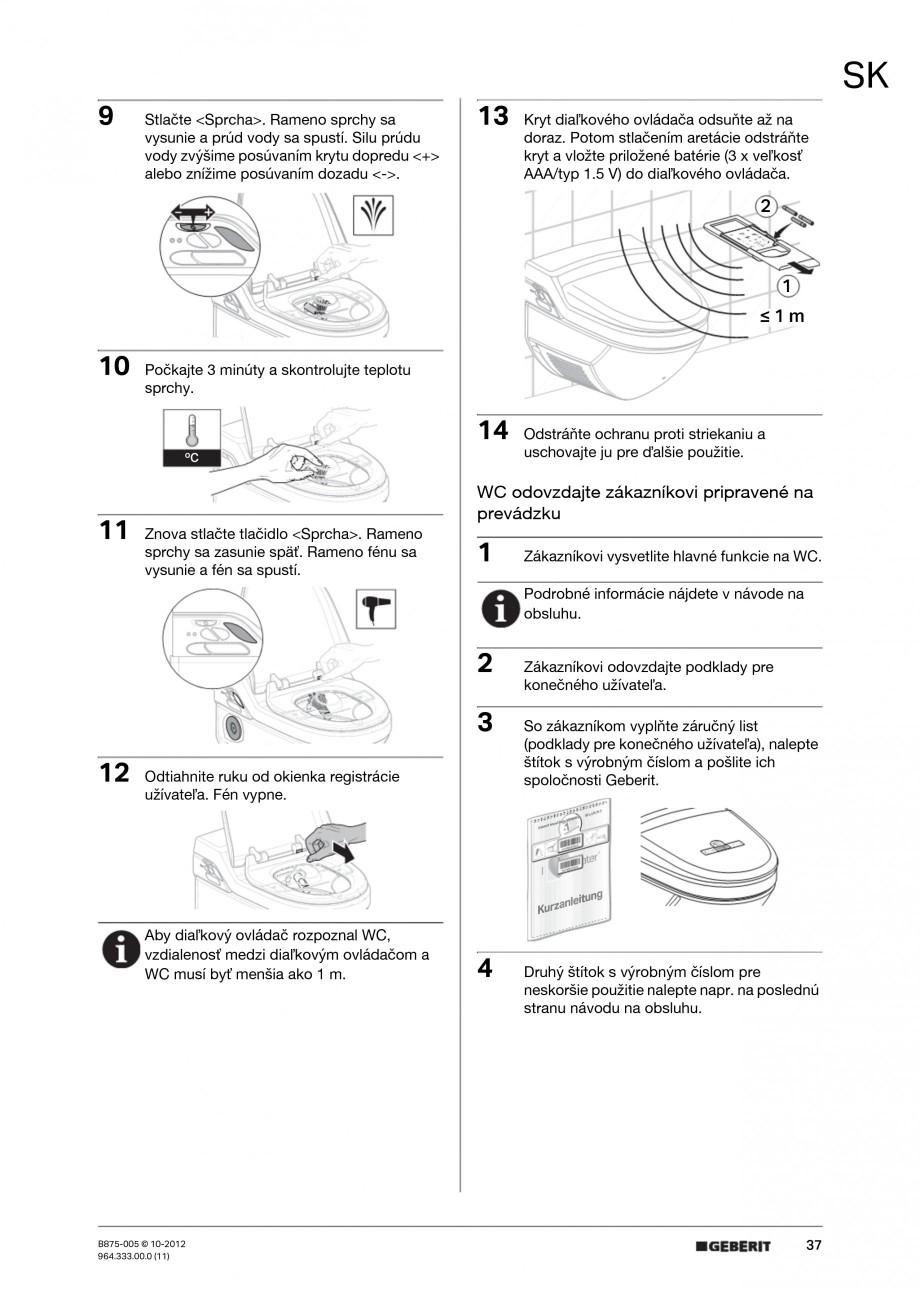 Pagina 37 - Vas WC cu jet de apa reglabil individual 8000plus GEBERIT AquaClean Instructiuni montaj,...