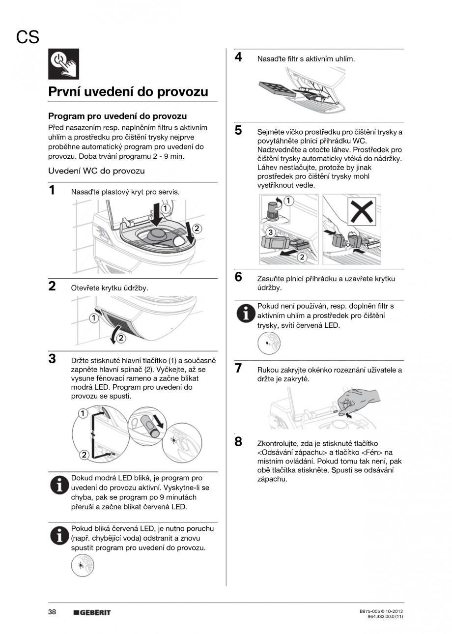 Pagina 38 - Vas WC cu jet de apa reglabil individual 8000plus GEBERIT AquaClean Instructiuni montaj,...