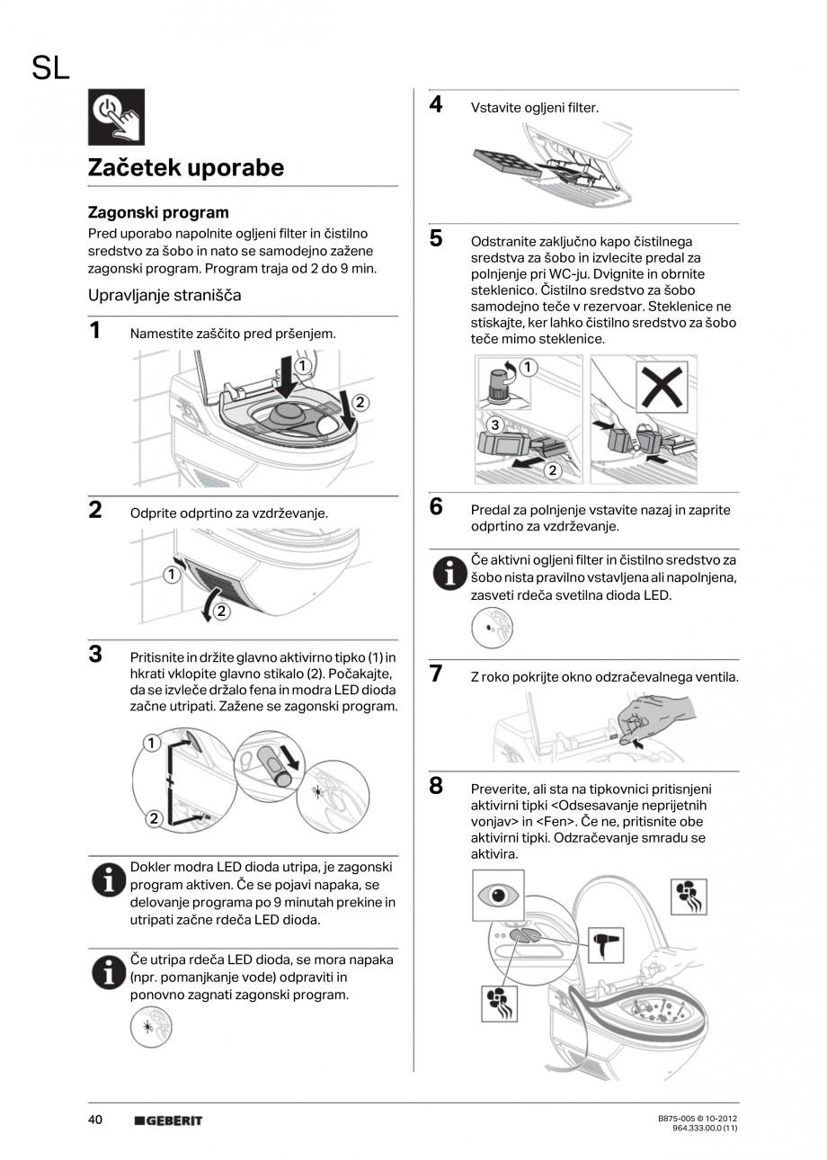 Pagina 40 - Vas WC cu jet de apa reglabil individual 8000plus GEBERIT AquaClean Instructiuni montaj,...