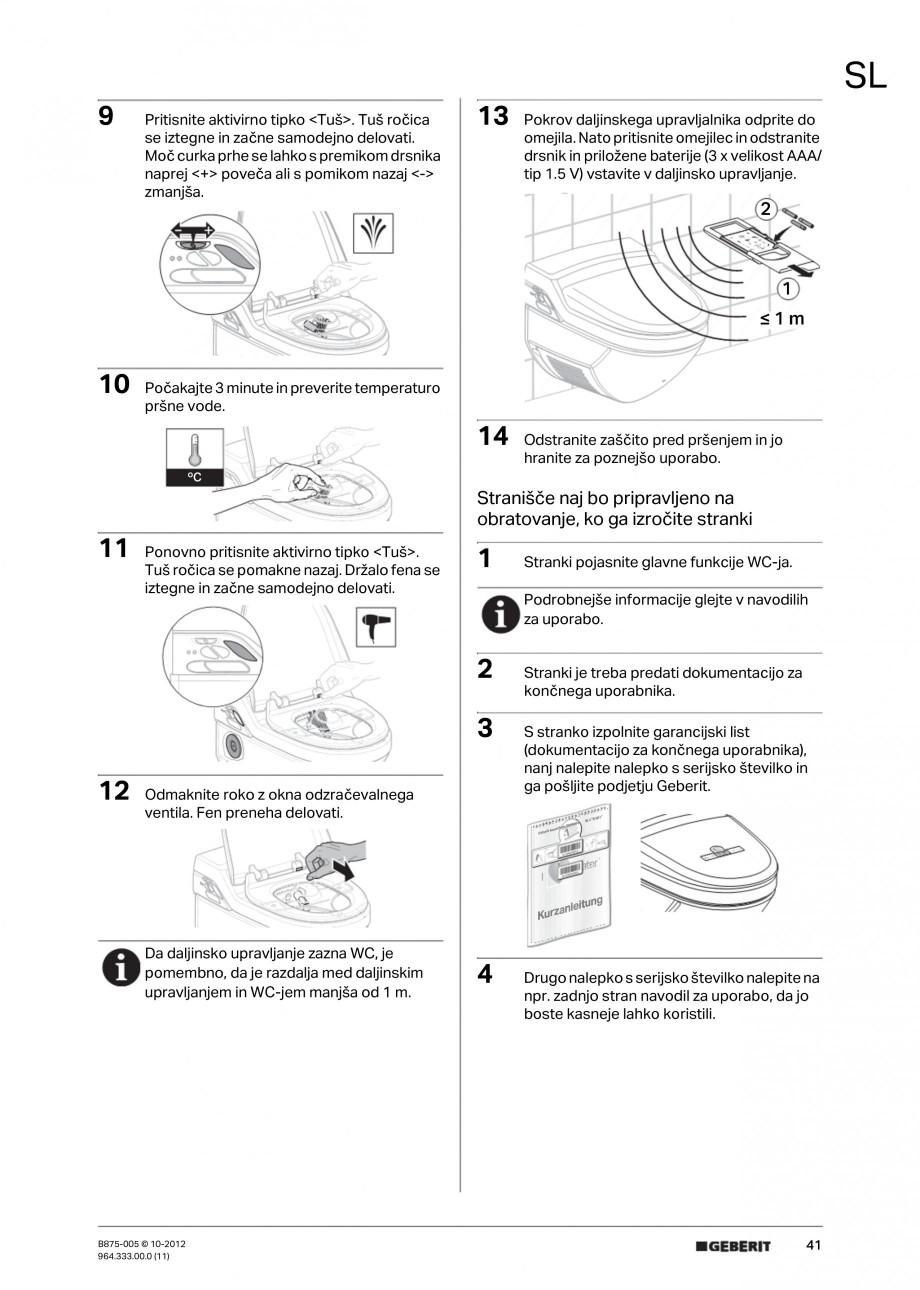 Pagina 41 - Vas WC cu jet de apa reglabil individual 8000plus GEBERIT AquaClean Instructiuni montaj,...
