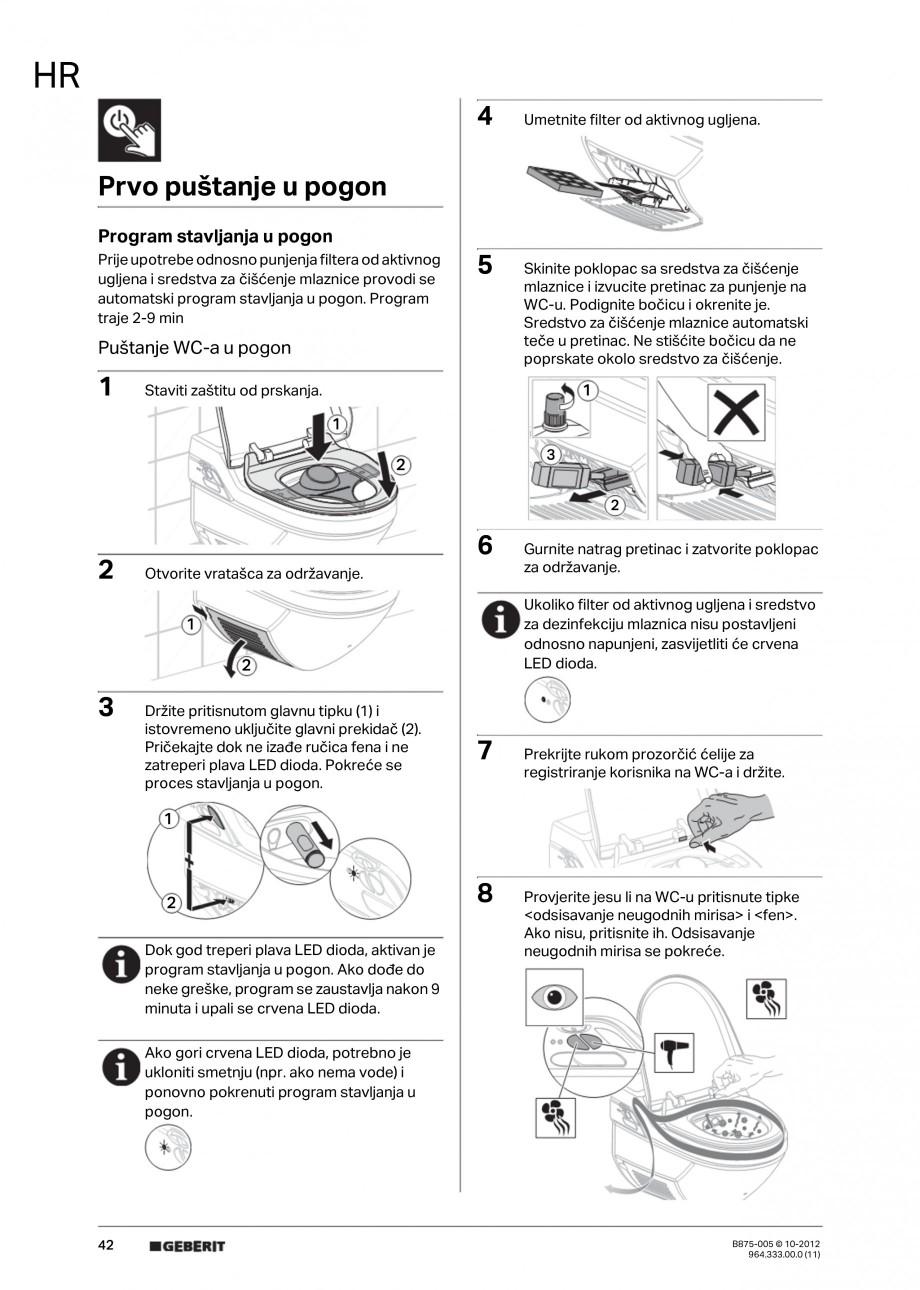 Pagina 42 - Vas WC cu jet de apa reglabil individual 8000plus GEBERIT AquaClean Instructiuni montaj,...
