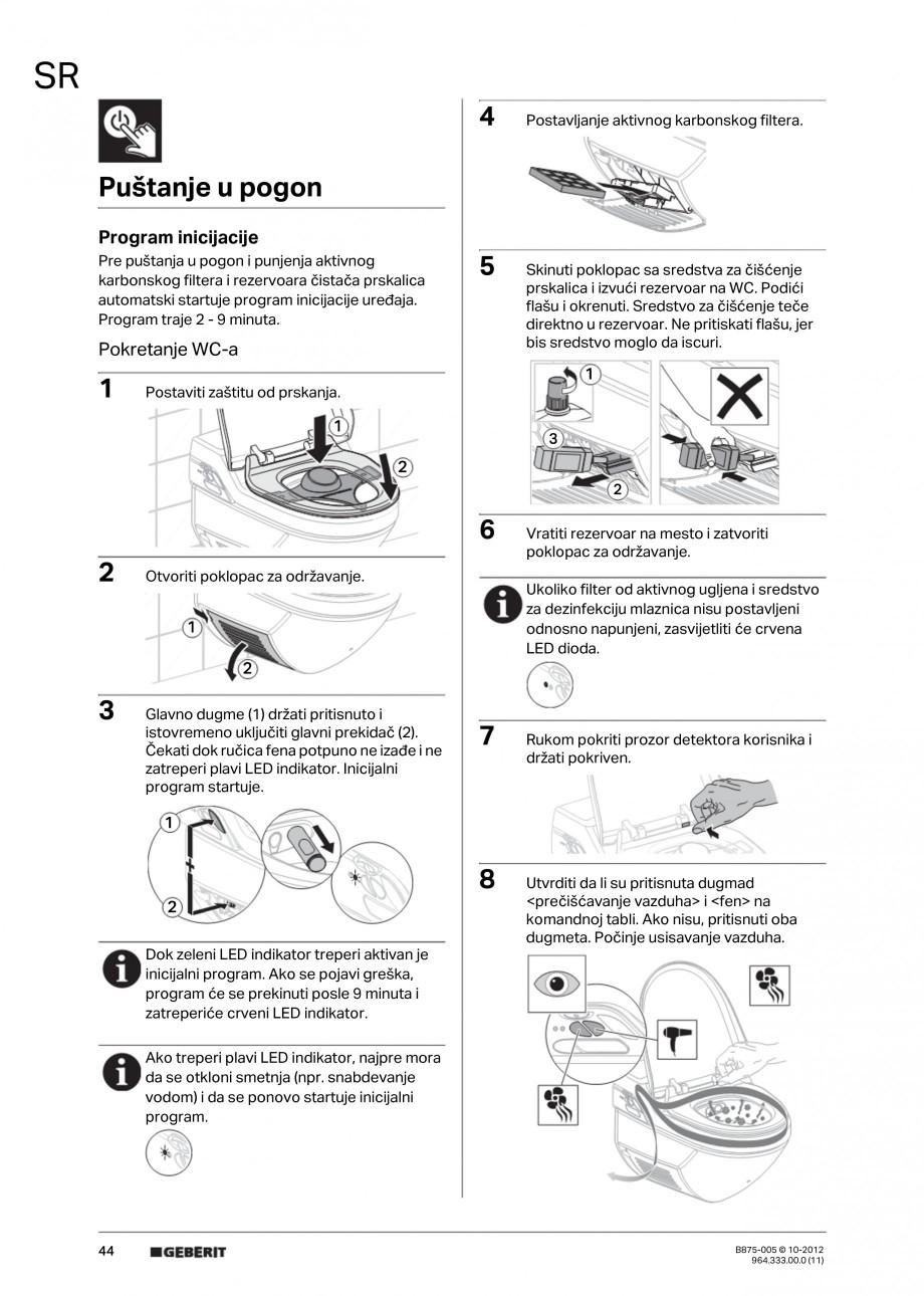 Pagina 44 - Vas WC cu jet de apa reglabil individual 8000plus GEBERIT AquaClean Instructiuni montaj,...
