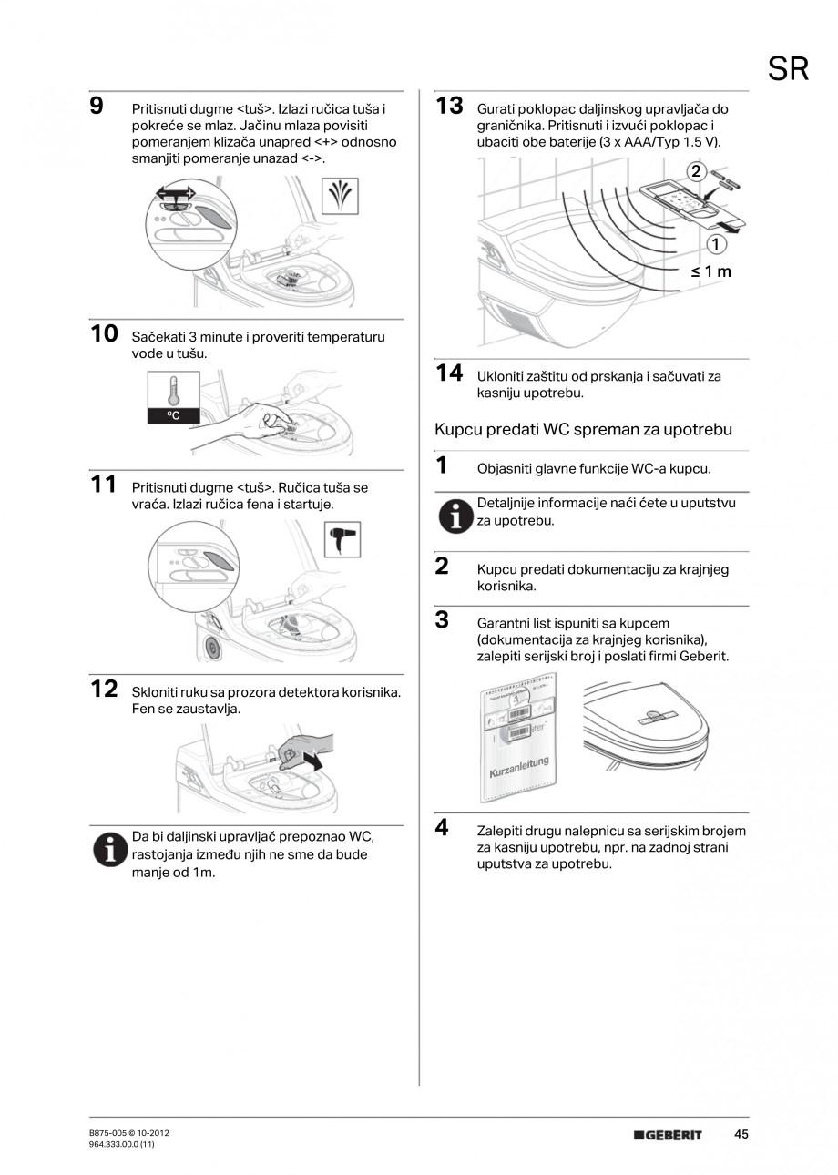 Pagina 45 - Vas WC cu jet de apa reglabil individual 8000plus GEBERIT AquaClean Instructiuni montaj,...