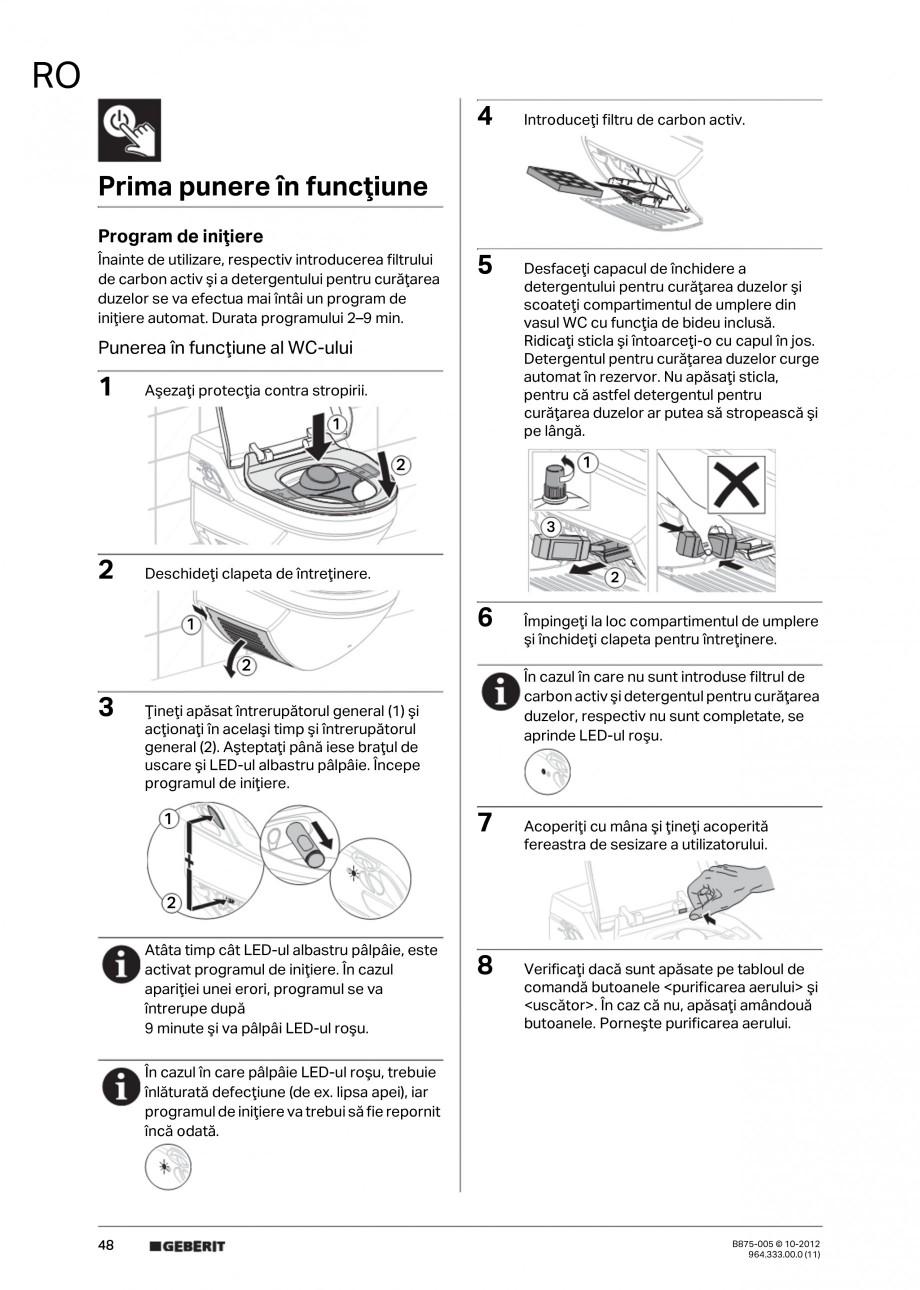 Pagina 48 - Vas WC cu jet de apa reglabil individual 8000plus GEBERIT AquaClean Instructiuni montaj,...