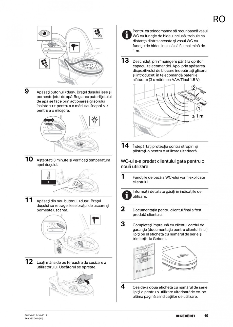 Pagina 49 - Vas WC cu jet de apa reglabil individual 8000plus GEBERIT AquaClean Instructiuni montaj,...