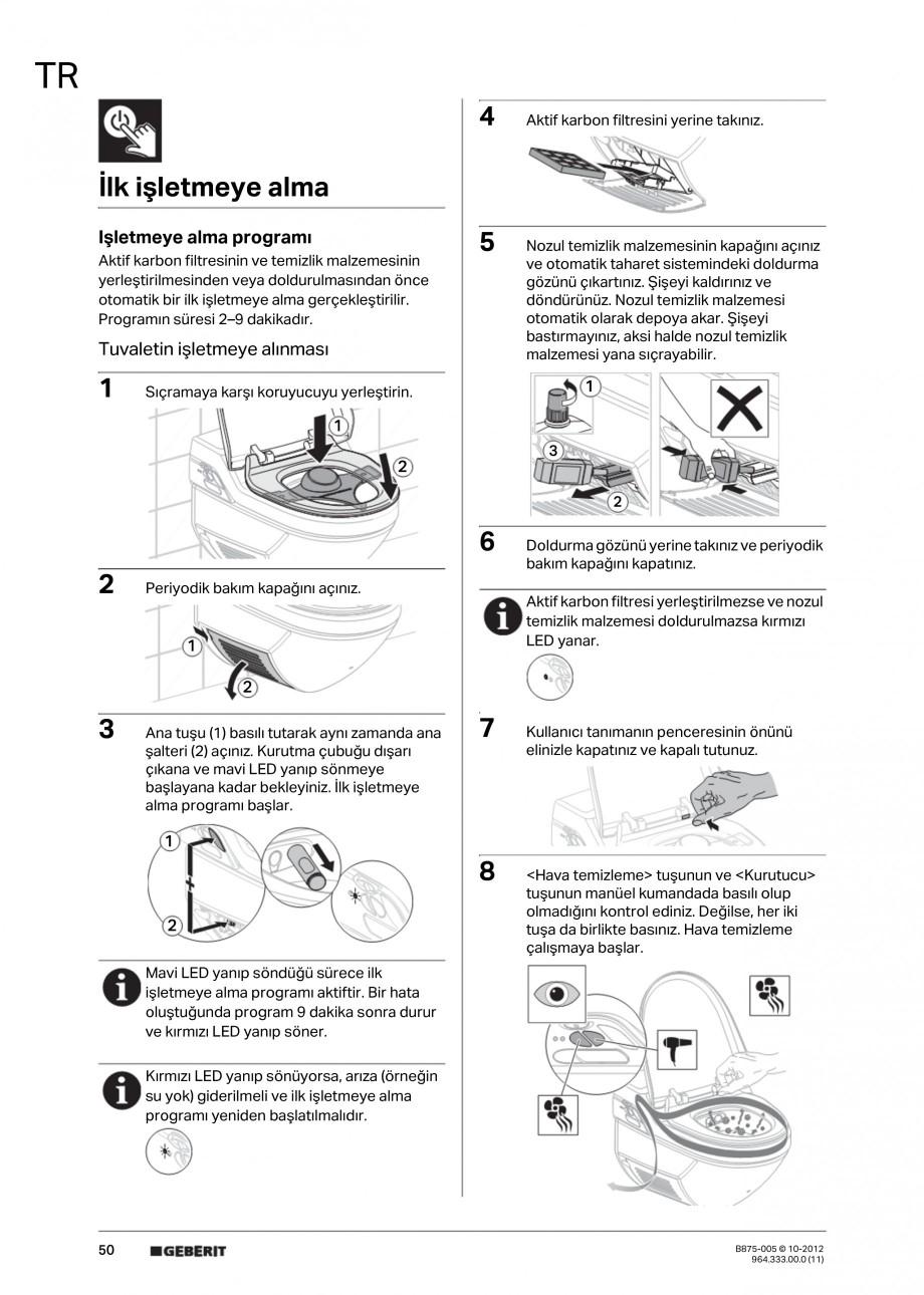 Pagina 50 - Vas WC cu jet de apa reglabil individual 8000plus GEBERIT AquaClean Instructiuni montaj,...