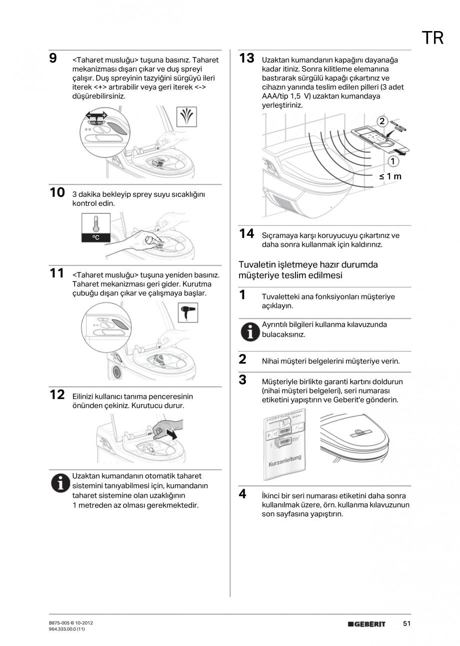 Pagina 51 - Vas WC cu jet de apa reglabil individual 8000plus GEBERIT AquaClean Instructiuni montaj,...