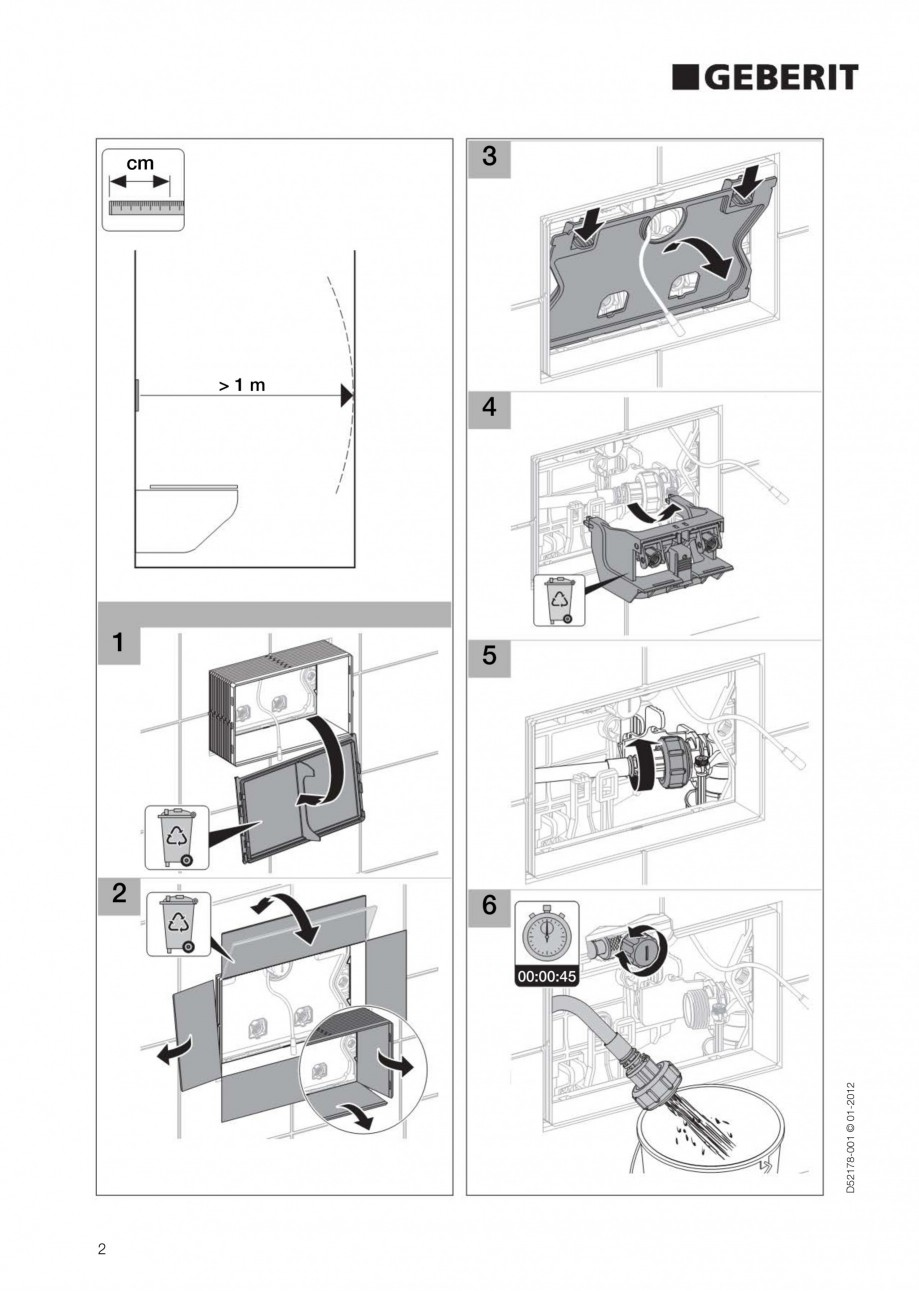 Pagina 2 - Clapeta de actionare electronica Geberit Sigma80 GEBERIT Instructiuni montaj, utilizare...