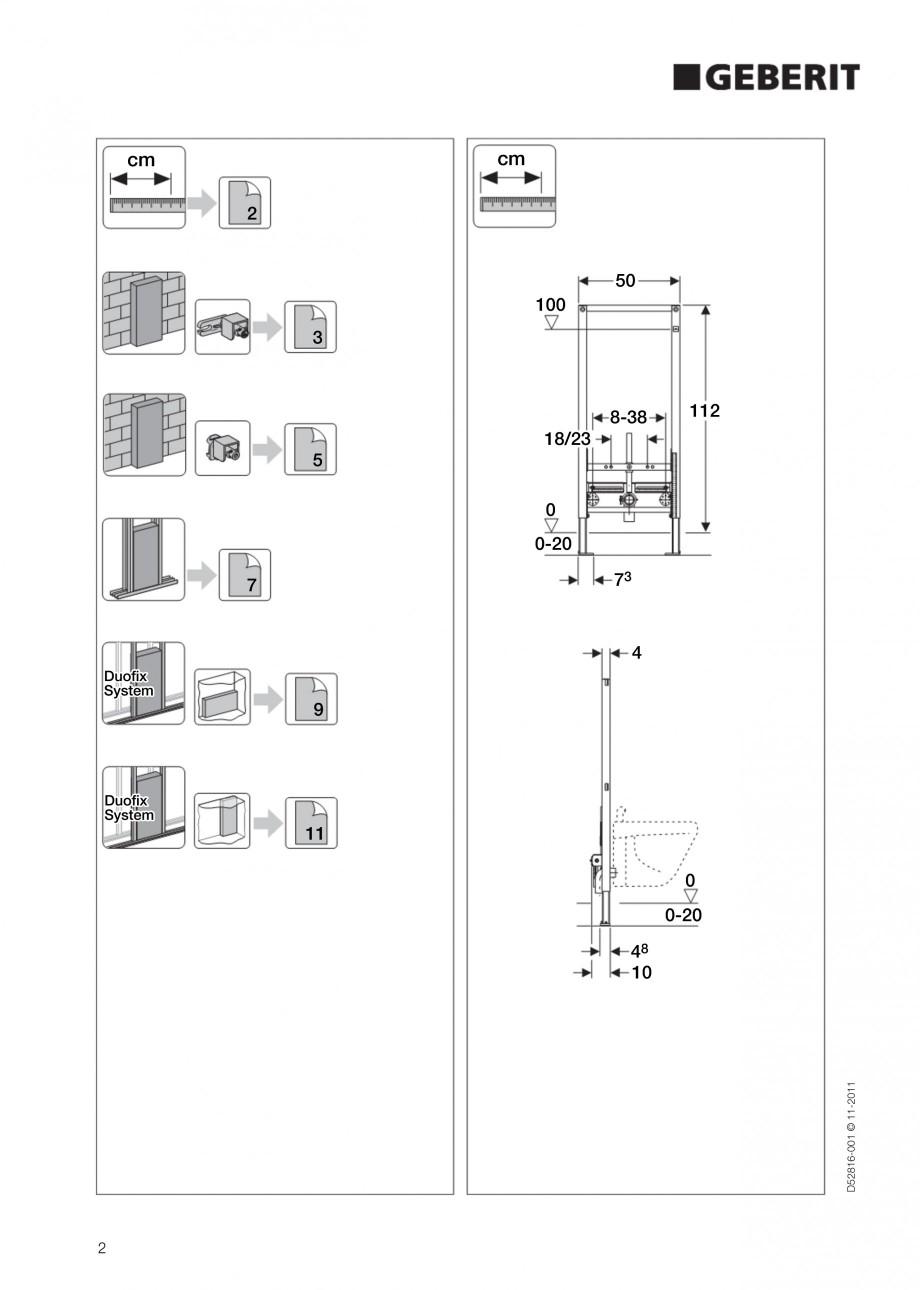 Pagina 2 - Rezervor incastrat Duofix pentru bideu GEBERIT Instructiuni montaj, utilizare Engleza 0...