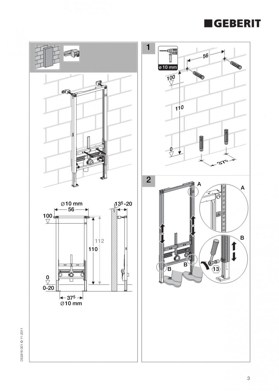 Pagina 3 - Rezervor incastrat Duofix pentru bideu GEBERIT Instructiuni montaj, utilizare Engleza 50 ...