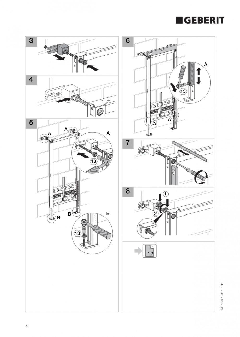 Pagina 4 - Rezervor incastrat Duofix pentru bideu GEBERIT Instructiuni montaj, utilizare Engleza ...