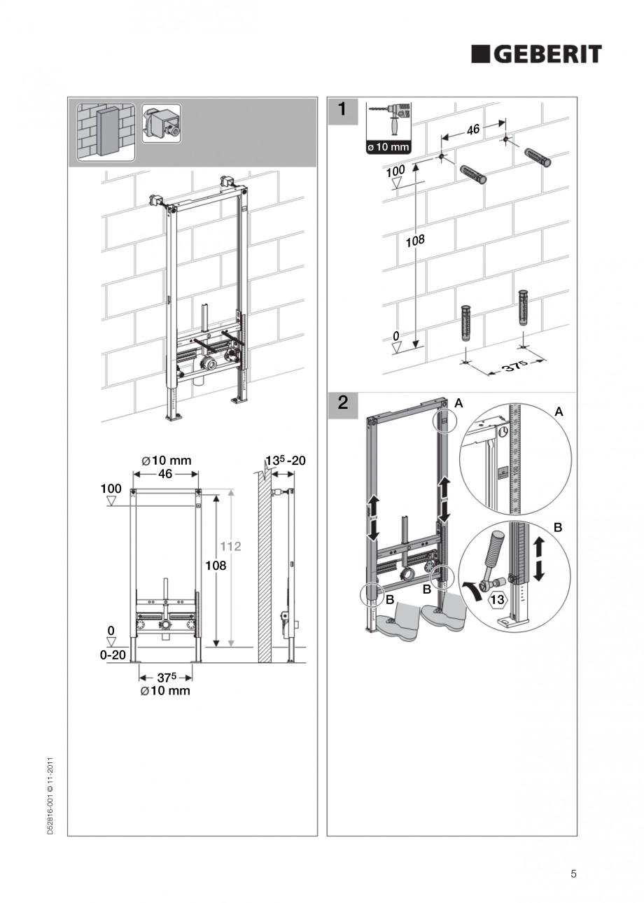 Pagina 5 - Rezervor incastrat Duofix pentru bideu GEBERIT Instructiuni montaj, utilizare Engleza 30 ...
