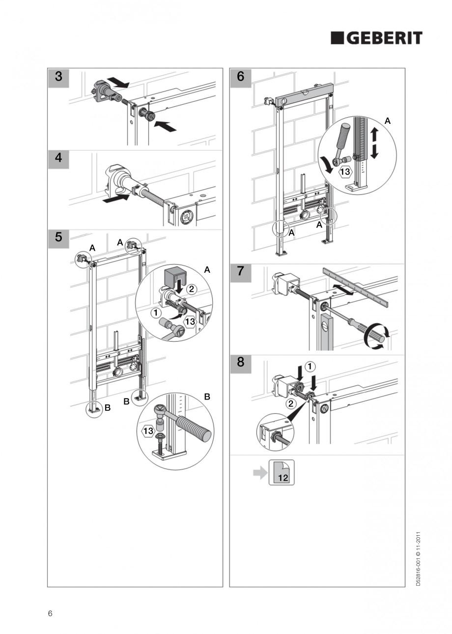 Pagina 6 - Rezervor incastrat Duofix pentru bideu GEBERIT Instructiuni montaj, utilizare Engleza 50 ...