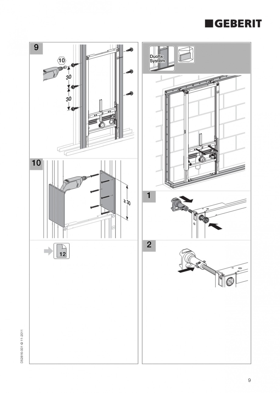 Pagina 9 - Rezervor incastrat Duofix pentru bideu GEBERIT Instructiuni montaj, utilizare Engleza