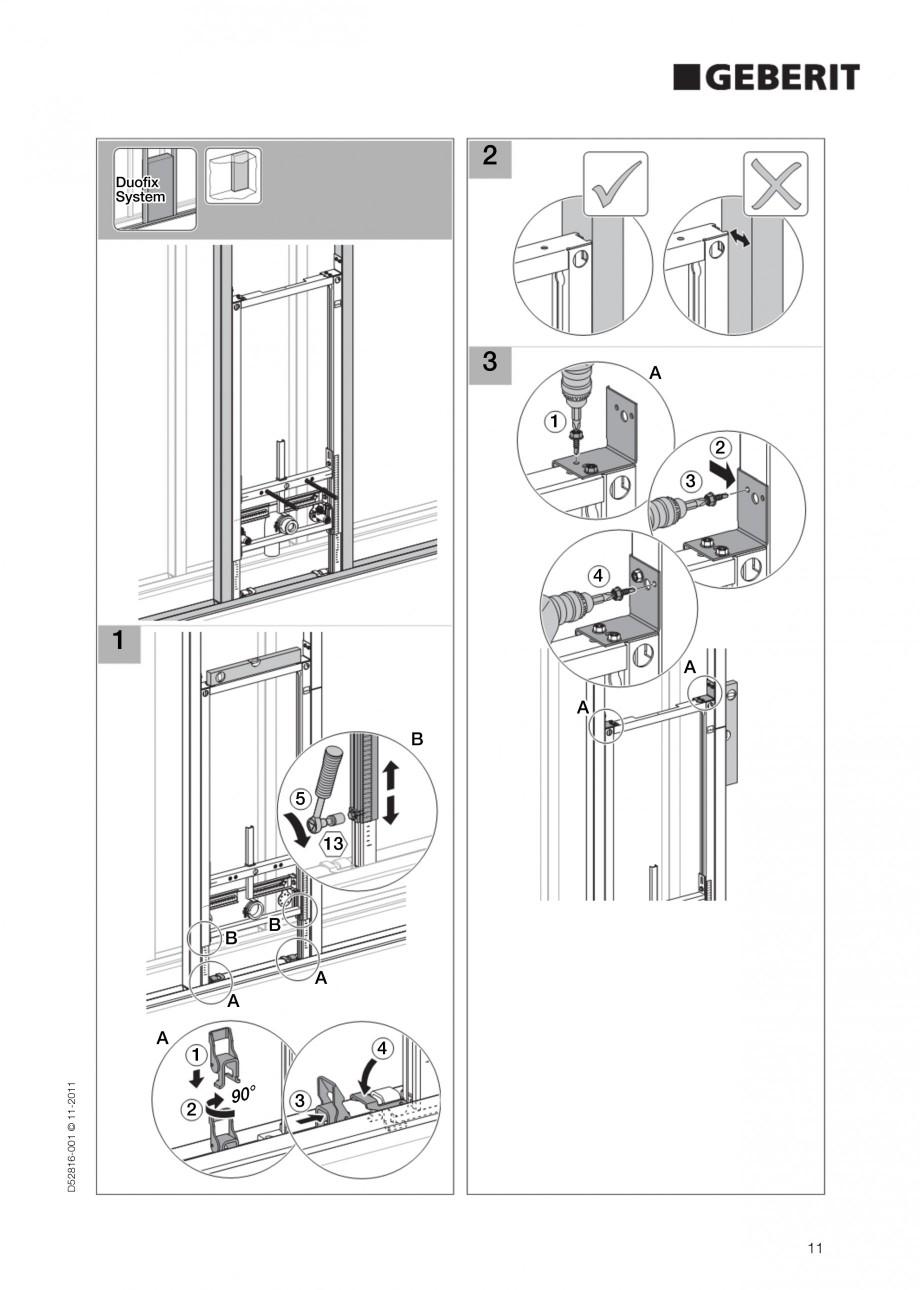 Pagina 11 - Rezervor incastrat Duofix pentru bideu GEBERIT Instructiuni montaj, utilizare Engleza