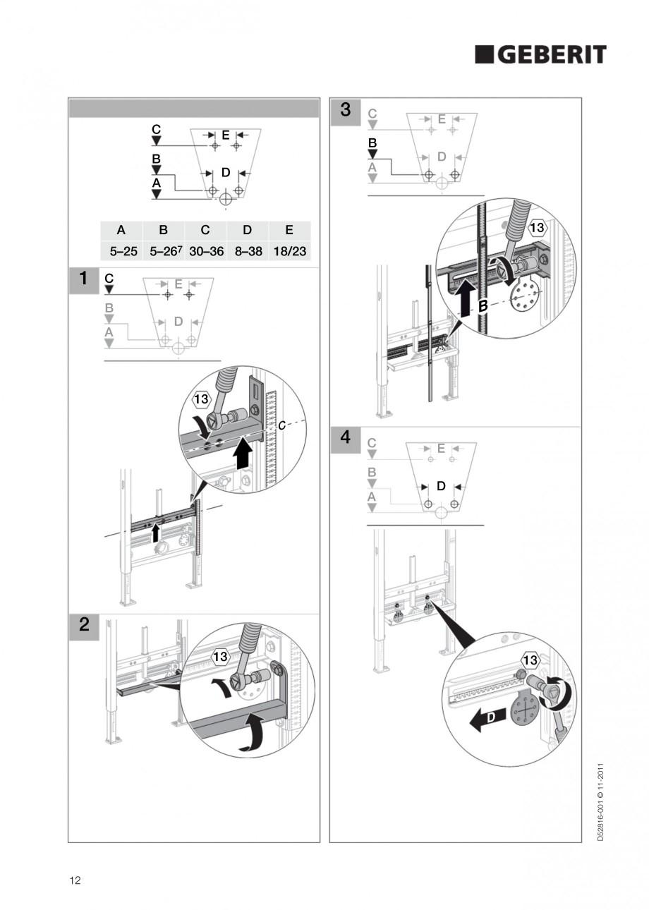 Pagina 12 - Rezervor incastrat Duofix pentru bideu GEBERIT Instructiuni montaj, utilizare Engleza
