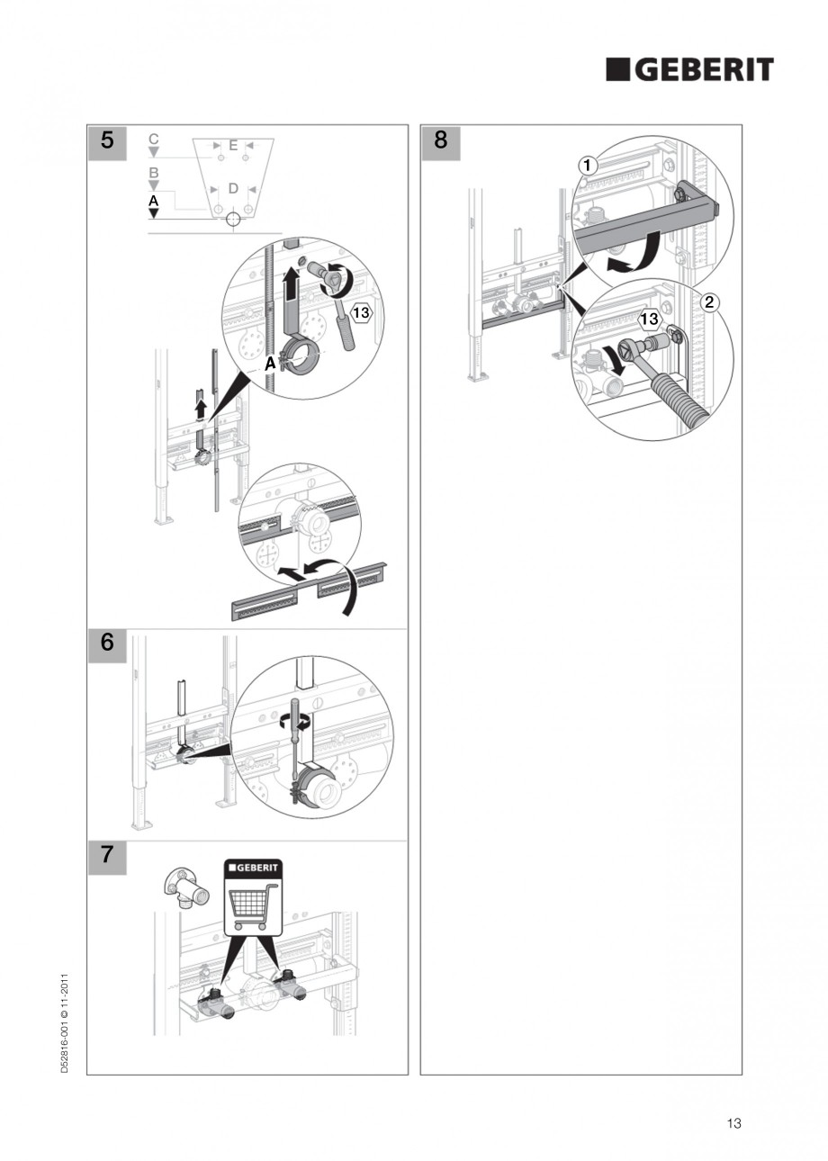 Pagina 13 - Rezervor incastrat Duofix pentru bideu GEBERIT Instructiuni montaj, utilizare Engleza