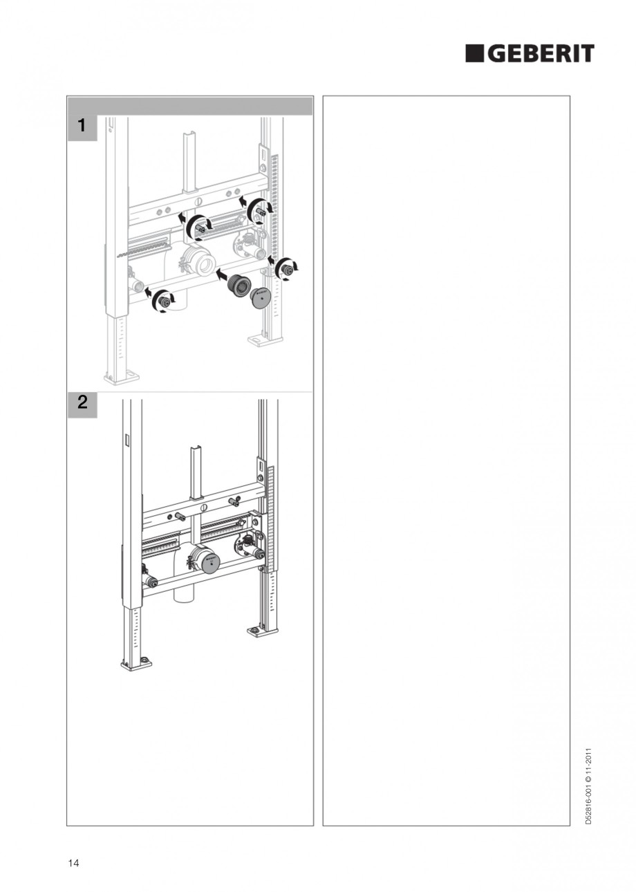 Pagina 14 - Rezervor incastrat Duofix pentru bideu GEBERIT Instructiuni montaj, utilizare Engleza