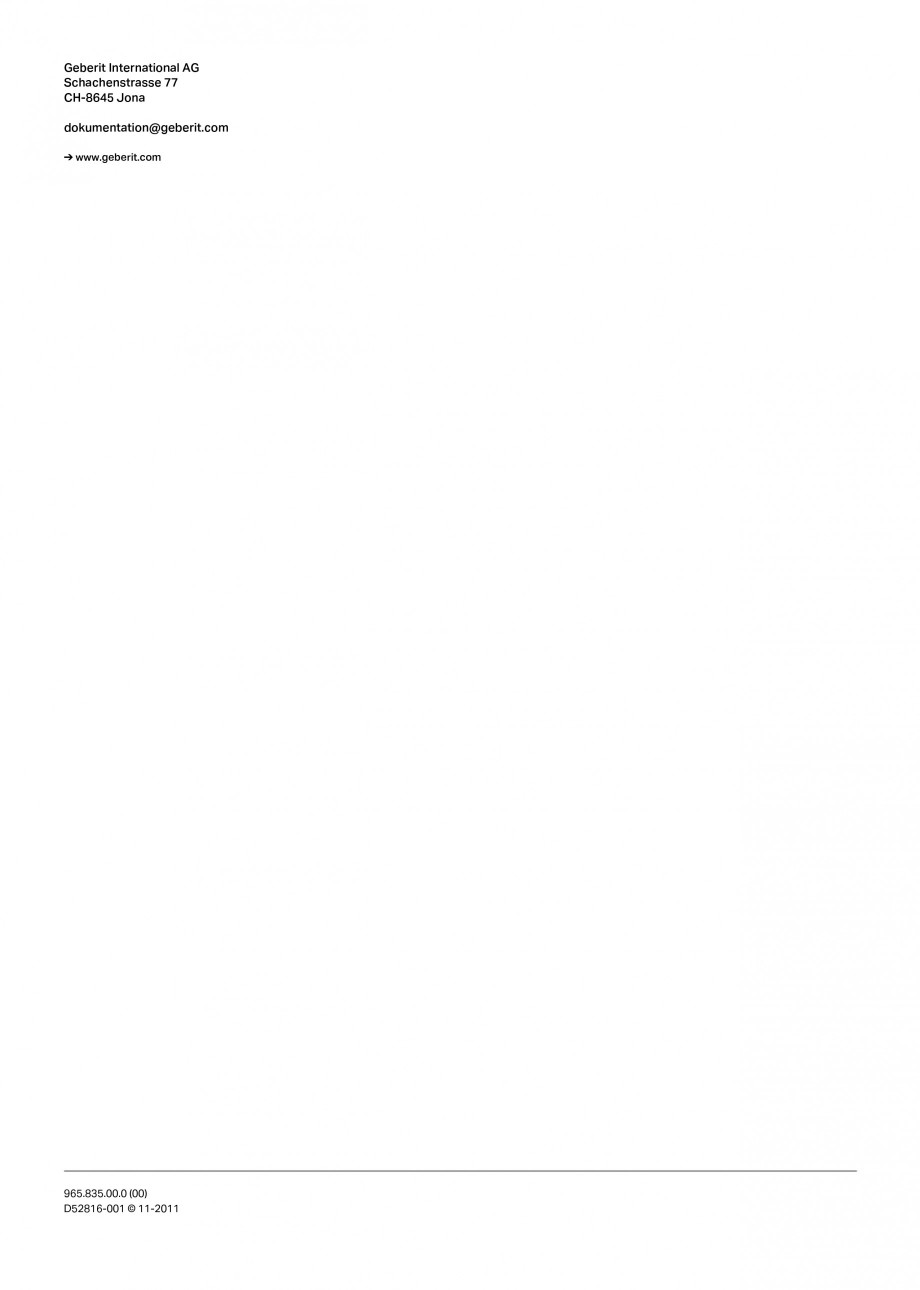 Pagina 16 - Rezervor incastrat Duofix pentru bideu GEBERIT Instructiuni montaj, utilizare Engleza