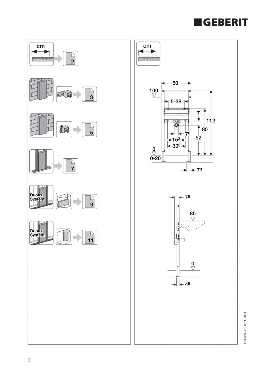 Pagina 2 - Rezervor incastrat Duofix pentru lavoar GEBERIT Instructiuni montaj, utilizare Engleza A ...