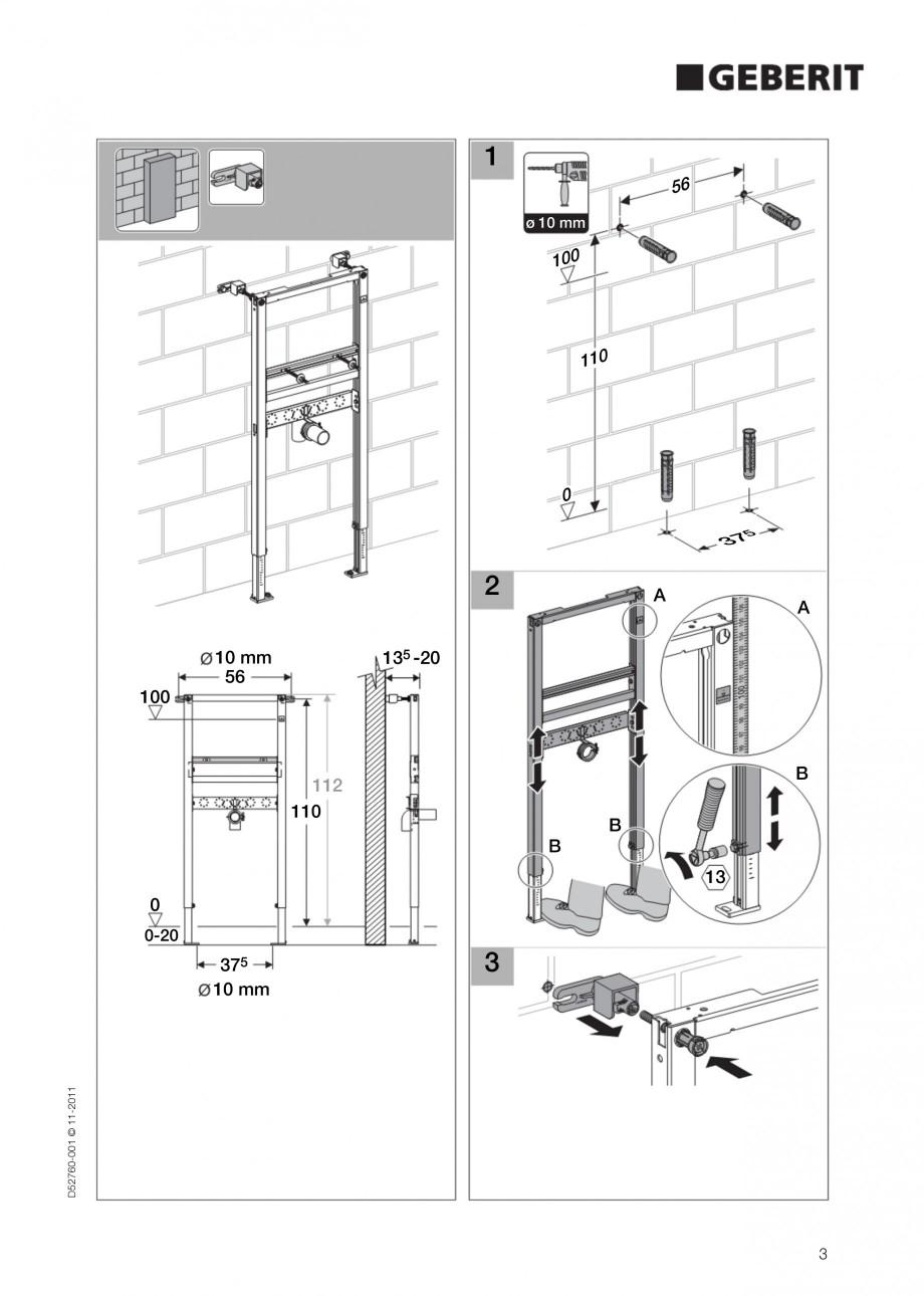 Pagina 3 - Rezervor incastrat Duofix pentru lavoar GEBERIT Instructiuni montaj, utilizare Engleza