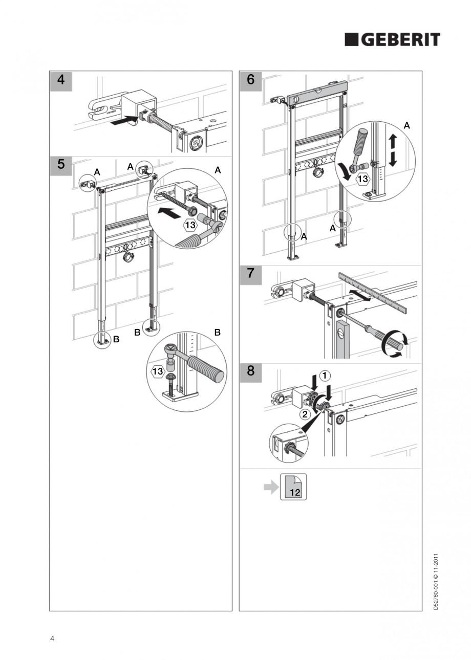 Pagina 4 - Rezervor incastrat Duofix pentru lavoar GEBERIT Instructiuni montaj, utilizare Engleza