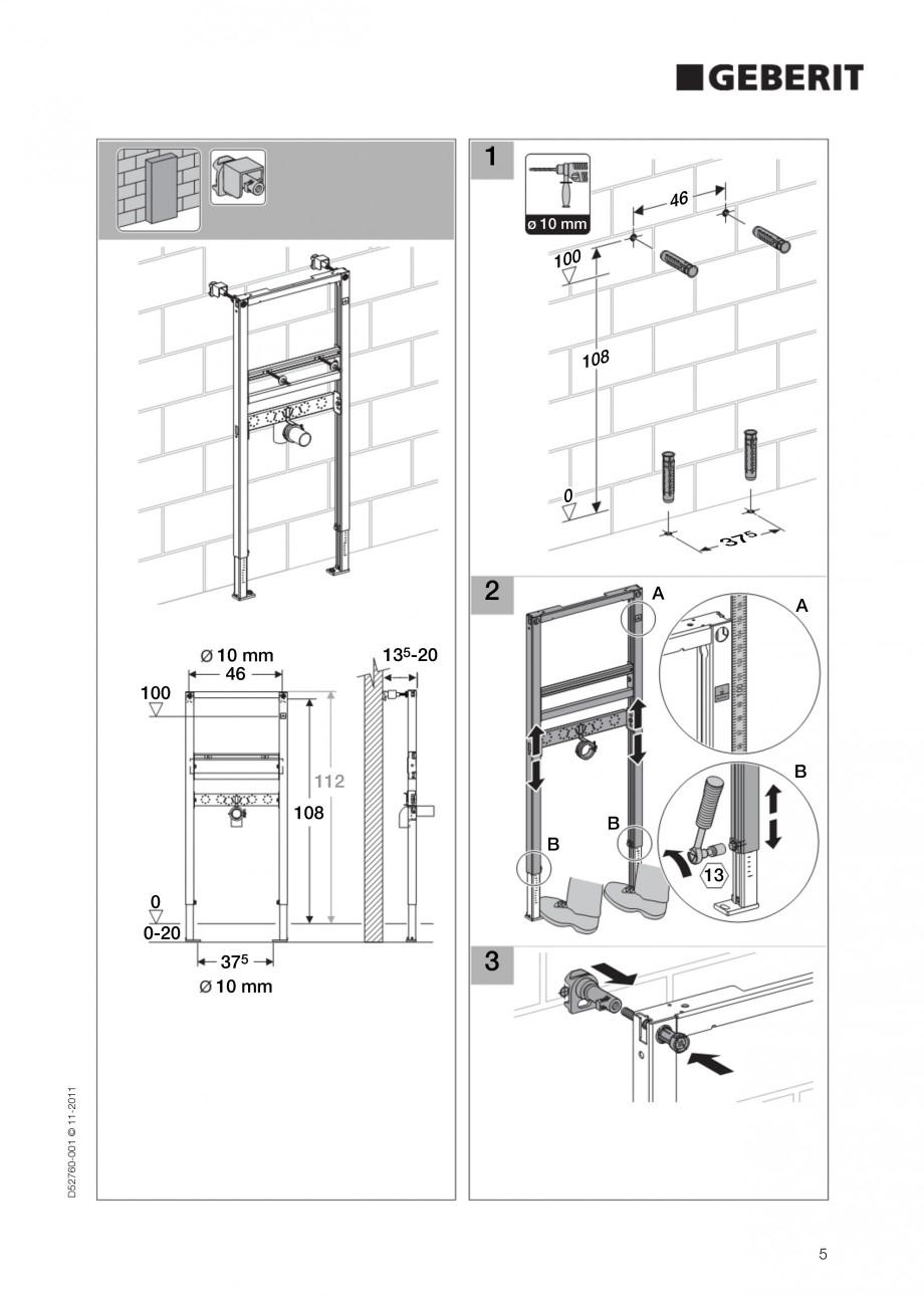 Pagina 5 - Rezervor incastrat Duofix pentru lavoar GEBERIT Instructiuni montaj, utilizare Engleza