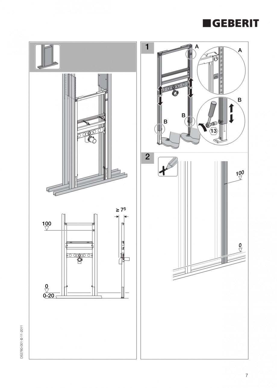 Pagina 7 - Rezervor incastrat Duofix pentru lavoar GEBERIT Instructiuni montaj, utilizare Engleza