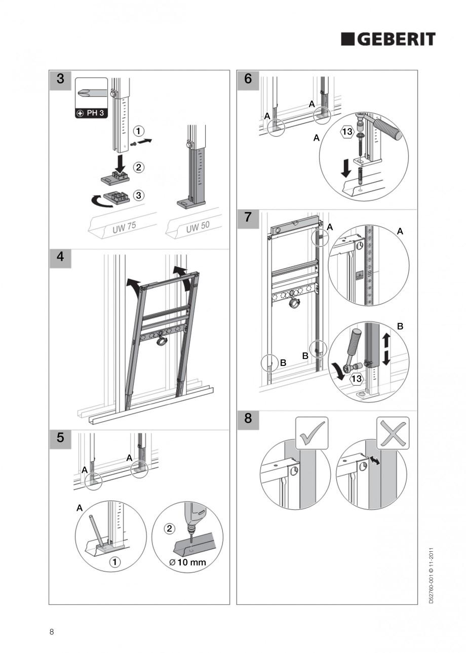Pagina 8 - Rezervor incastrat Duofix pentru lavoar GEBERIT Instructiuni montaj, utilizare Engleza