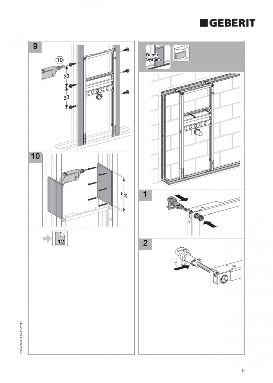 Pagina 9 - Rezervor incastrat Duofix pentru lavoar GEBERIT Instructiuni montaj, utilizare Engleza