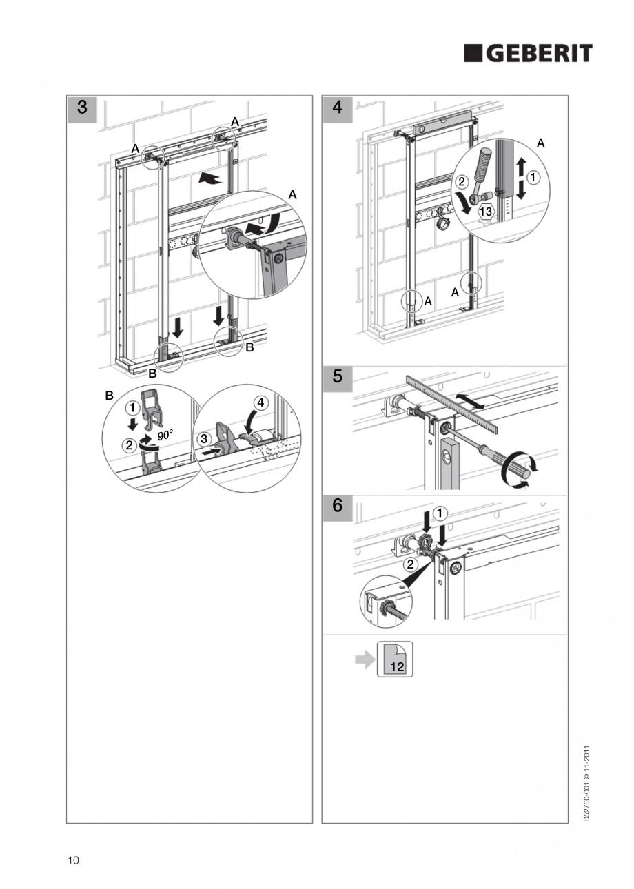 Pagina 10 - Rezervor incastrat Duofix pentru lavoar GEBERIT Instructiuni montaj, utilizare Engleza