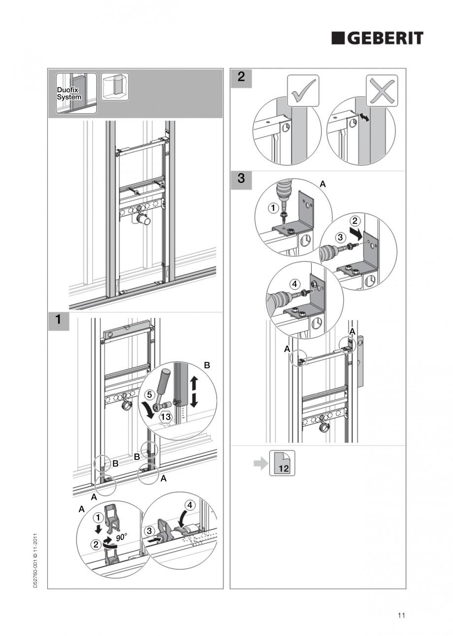 Pagina 11 - Rezervor incastrat Duofix pentru lavoar GEBERIT Instructiuni montaj, utilizare Engleza