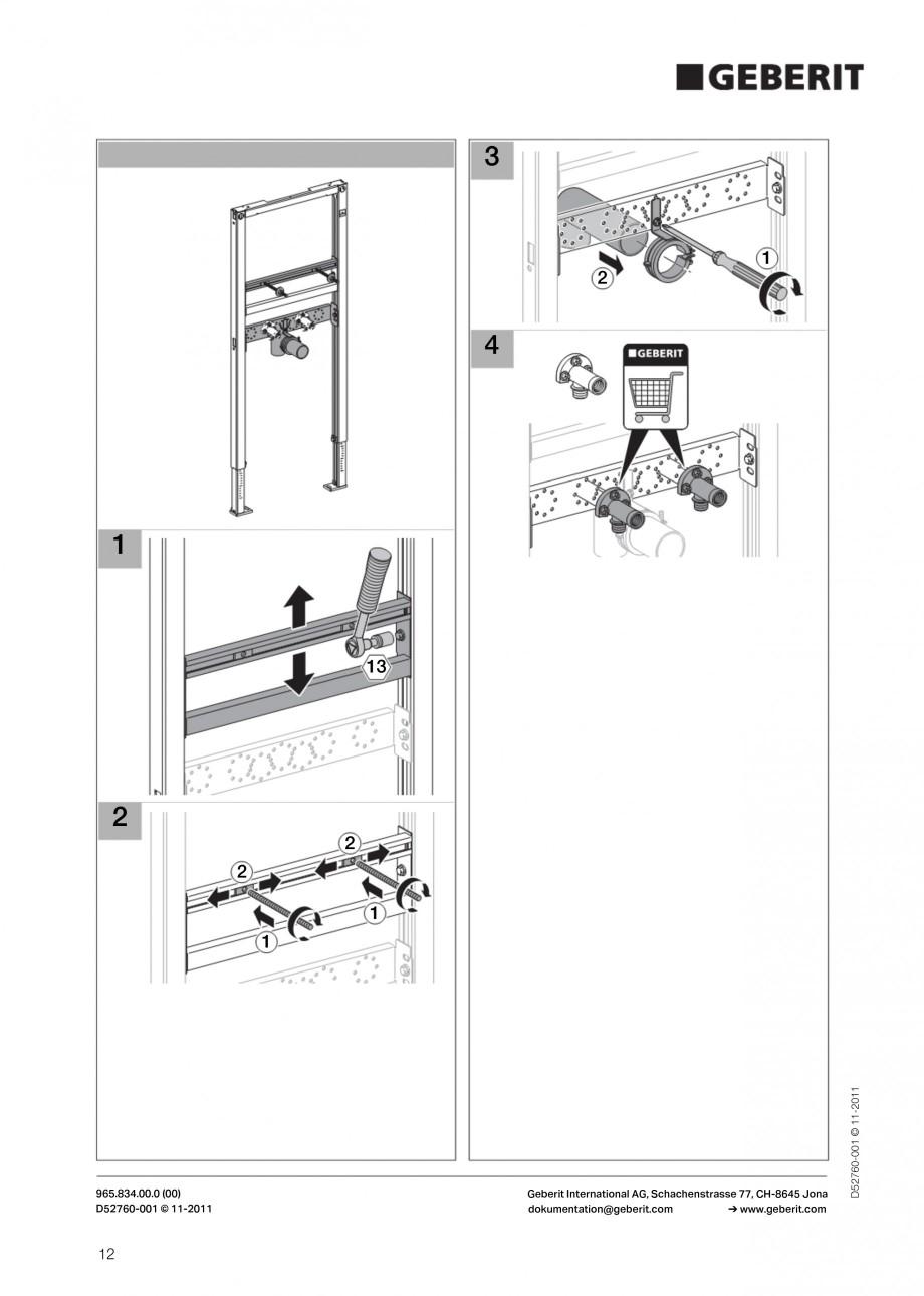 Pagina 12 - Rezervor incastrat Duofix pentru lavoar GEBERIT Instructiuni montaj, utilizare Engleza
