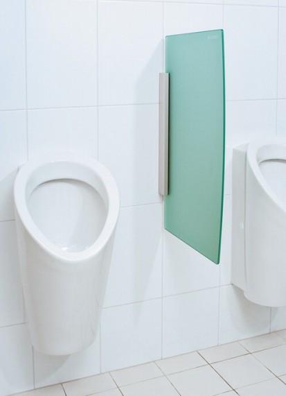 Sistem de instalare incastrat pentru pisoar / Partitii rectangulare pentru pisoar sticla verde