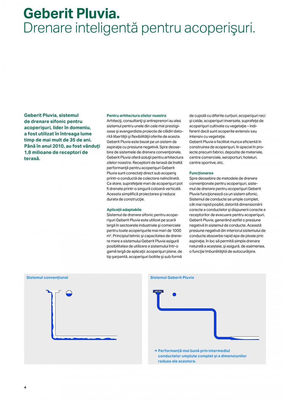 Pagina 4 - Sistemul de drenare pentru acoperisuri Geberit Pluvia GEBERIT Catalog, brosura Romana...