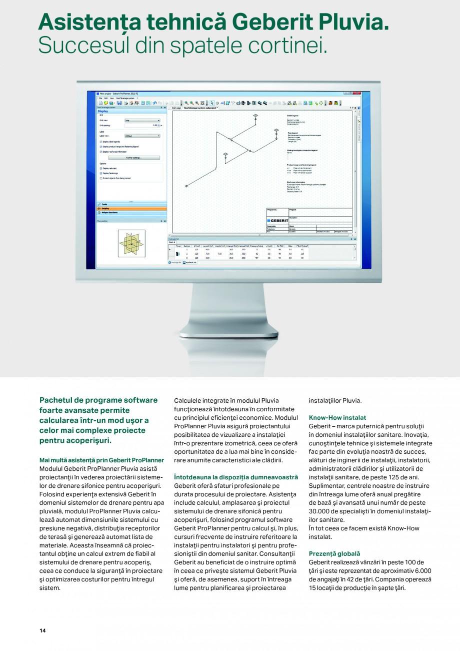Pagina 14 - Sistemul de drenare pentru acoperisuri Geberit Pluvia GEBERIT Catalog, brosura Romana te...