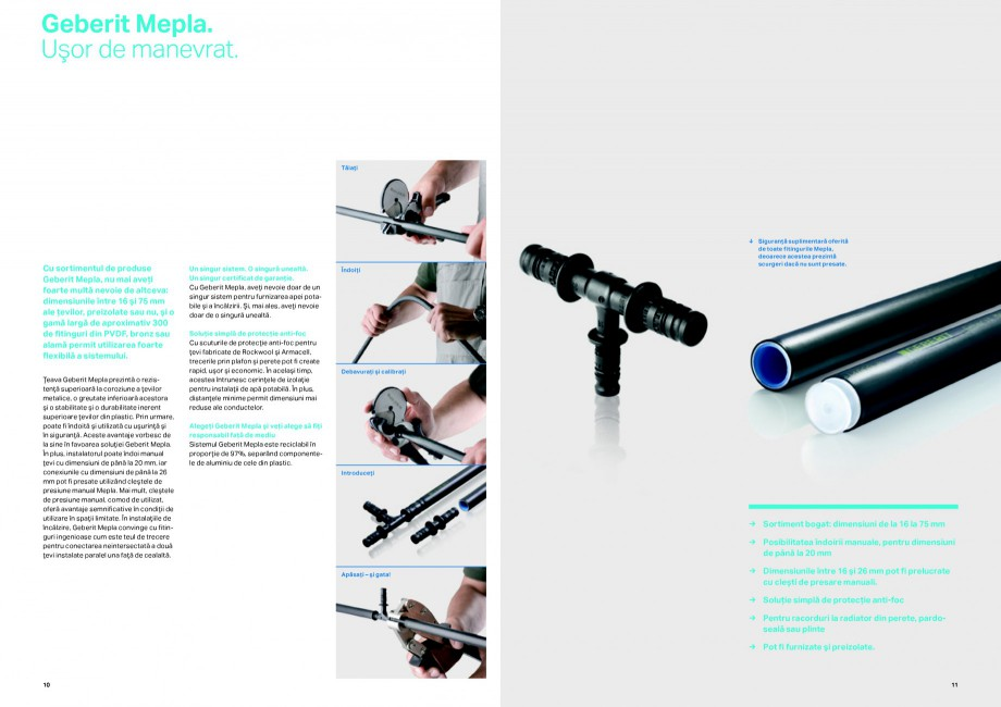 Pagina 6 - Sisteme de alimentare Geberit GEBERIT Catalog, brosura Romana onexiuni permanent etanşe....
